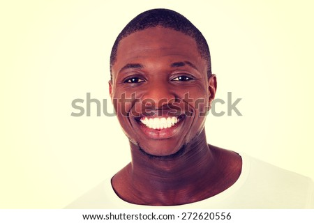 Handsome black man cheering friendly - stock photo
