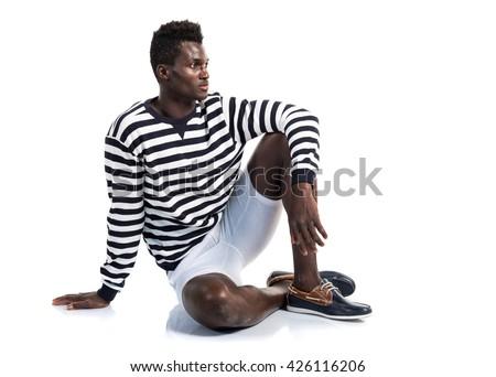 Handsome black man posing - stock photo