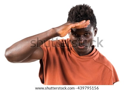 Handsome black man showing something