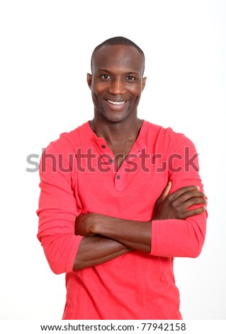 Handsome black man with cheerful attitude - stock photo
