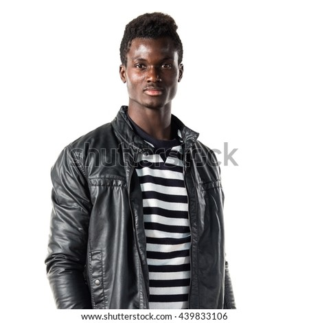 Handsome black man with leather jacket