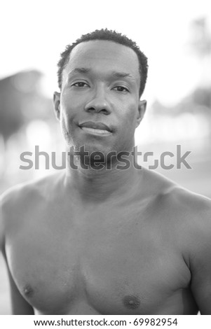 Handsome black man without a shirt