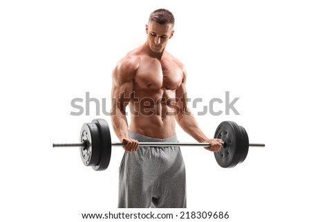 Handsome bodybuilder exercising with a barbell isolated on white background - stock photo