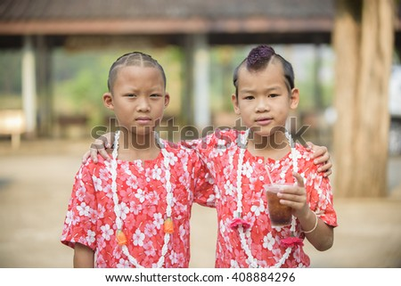 Handsome boy with a creative hairstyle fashion in Songkran festival at thailand, Hairstyle Fashion Hot in Songkran festival in thailand - stock photo