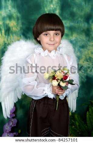 handsome boy with angel wings