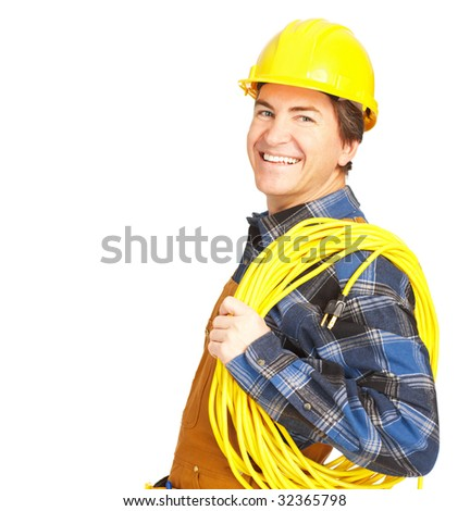 Handsome builder in yellow uniform. Isolated over white background - stock photo