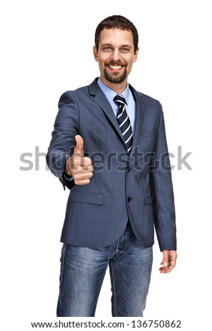 Handsome business man giving you thumbs up cheering isolated on