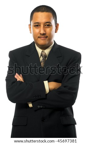 Handsome business man look confident in his suit, isolated on white background - stock photo