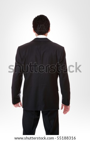 Handsome business man over gray  background - stock photo