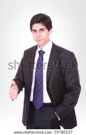 Handsome business man over gray  background