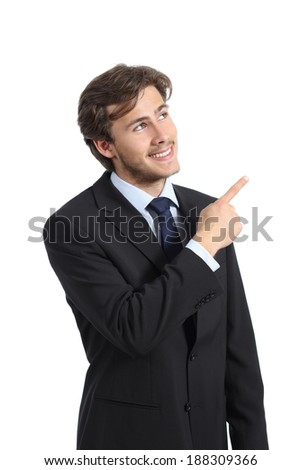 Handsome business man pointing at side presenting a product isolated on a white background   - stock photo