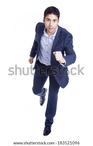 Handsome business man running, isolated on white - stock photo