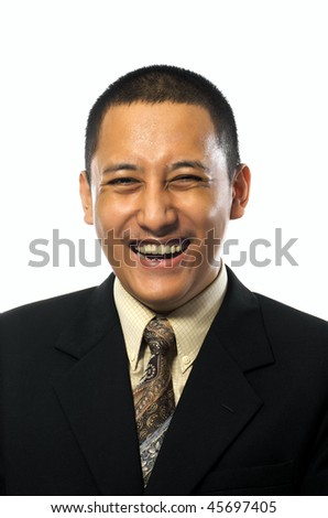 Handsome business man smiling isolated on white background - stock photo
