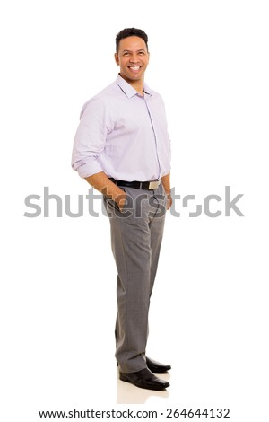 handsome business man standing on white background - stock photo