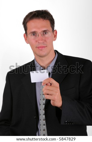 Handsome business men with his visiting empty card - stock photo