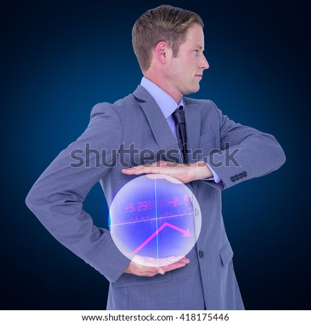 Handsome businessman gesturing with hands against stocks and shares - stock photo