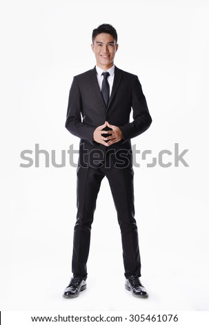 Handsome businessman portrait full body - stock photo