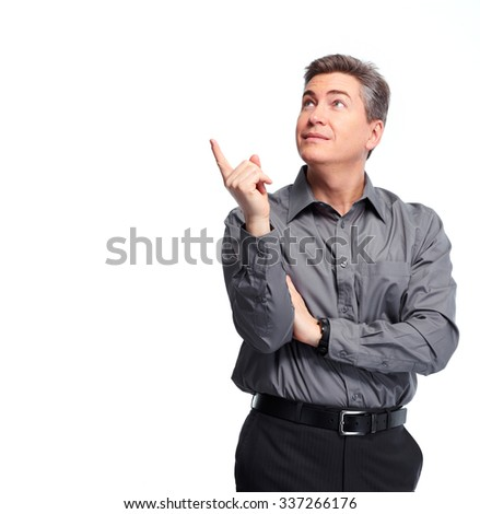 Handsome businessman presenting copy space. Isolated over white background.  - stock photo