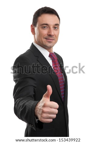 handsome businessman showing his thumb up isolated on white - stock photo