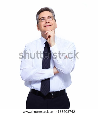 Handsome Businessman thinking solution isolated white background - stock photo