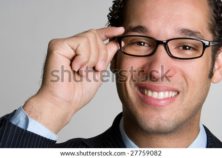 Handsome Businessman Wearing Glasses - stock photo