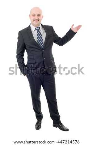 Handsome businessman with arm out in a welcoming gesture, isolated on white - stock photo
