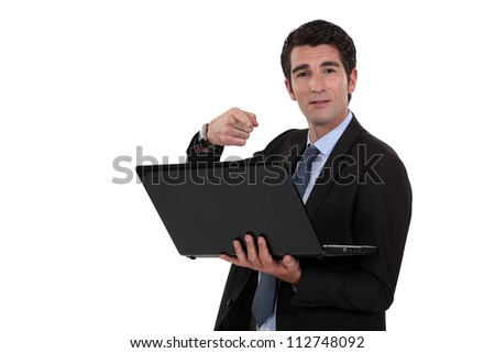 handsome businessman with laptop