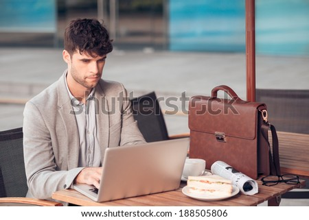 Handsome businessman working in the cafe during lunch - stock photo