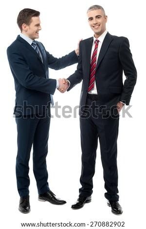Handsome businessmen shaking hands - stock photo