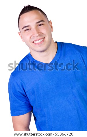 Handsome Casual Hispanic Man - Isolated background - stock photo
