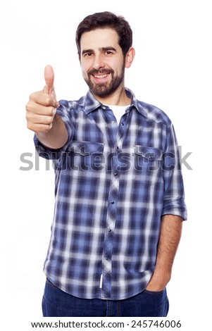 Handsome casual man giving thumbs up sign, isolated on white background