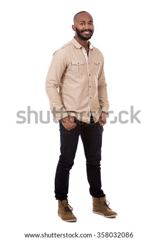 handsome casual man on white isolated background