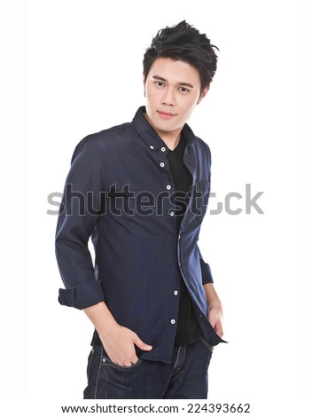 Handsome casual man smiling - isolated