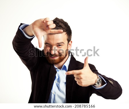 Handsome casual man smiling - isolated over a white background  - stock photo