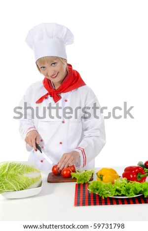 Handsome chef in uniform. Isolated on white background