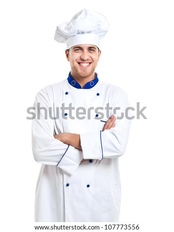 Handsome chef isolated on white - stock photo