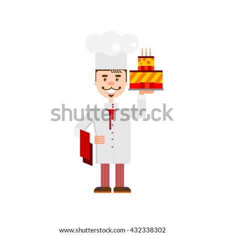 Handsome chef with birthday cake isolated at white background. Flat character of confectioer for bakery shop, cafe or web site. - stock photo