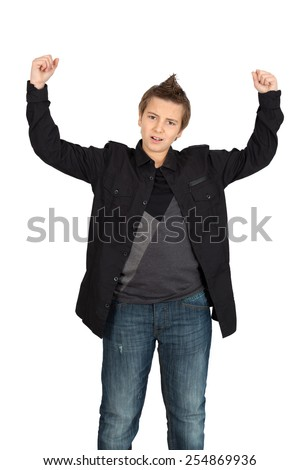 Handsome child doing different expressions in different sets of clothes: arms raised - stock photo