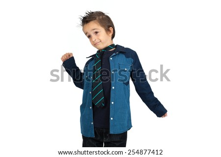 Handsome child doing different expressions in different sets of clothes: wake up - stock photo