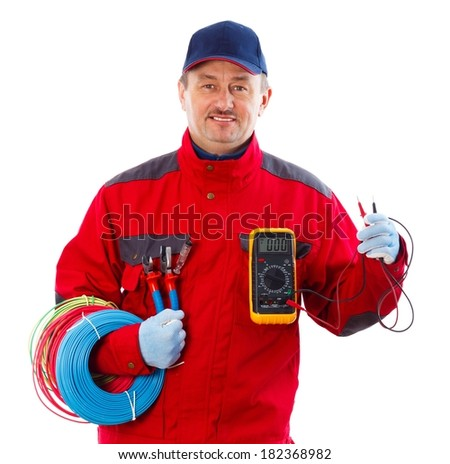 Handsome confident electrician with electrical equipment. - stock photo