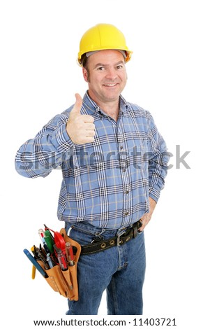 Handsome construction worker giving thumbs-up sign.  Isolated on white.