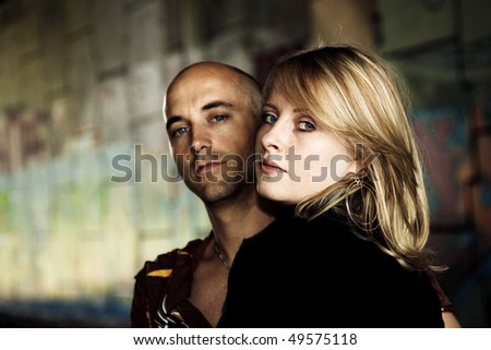 handsome couple vintage look - stock photo