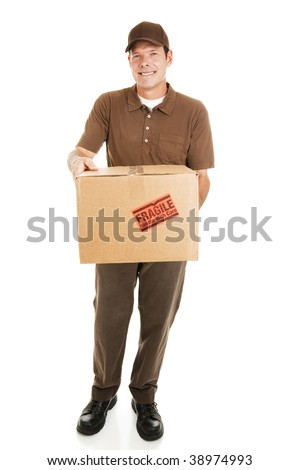 Handsome delivery man bringing a package for you.  Full body isolated on white. - stock photo