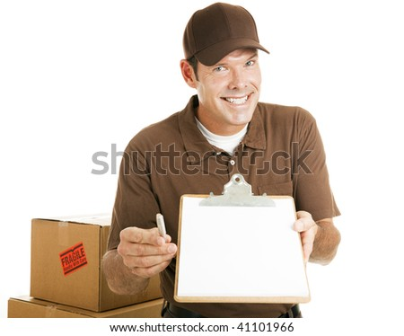 Handsome delivery man or mover waiting for your signature.  Isolated on white. - stock photo
