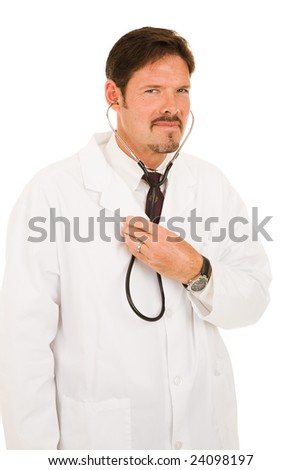 Handsome doctor listening to his own chest with a stethoscope.  Isolated on white. - stock photo