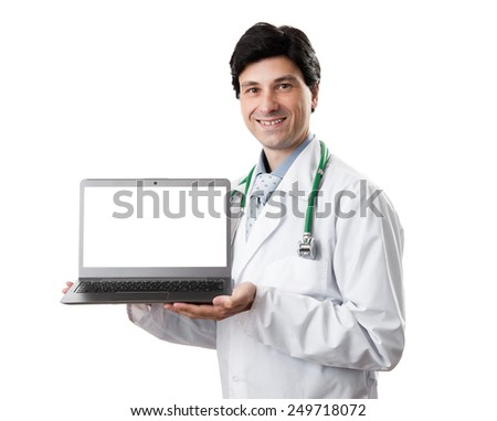 handsome doctor showing laptop computer with blank screen for copy space - stock photo