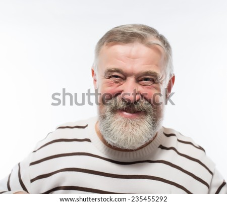 Handsome elderly man with gray beard asks be quiet isolated over white background - stock photo
