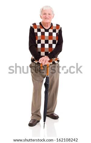 handsome elderly man with umbrella isolated on white background - stock photo