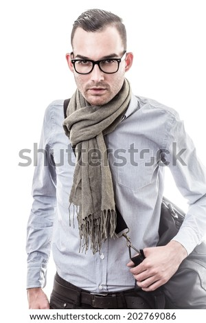 handsome elegant young man with bag - colorized photo - stock photo