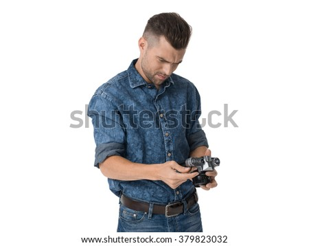 Handsome emotional Man with camera Portrait Isolated on White Background